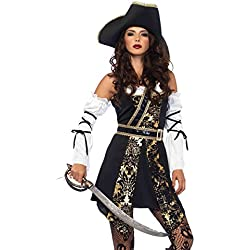 Leg Avenue Women's Black Sea Sexy Buccaneer Pirate Costume, Gold, Medium