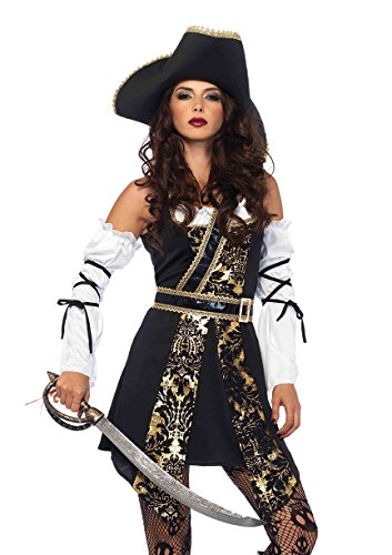 Leg Avenue Women's Black Sea Sexy Buccaneer Pirate Costume, Gold, Medium -