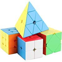 D-Fantix Speed Cube Bundle Pack MF2S 2x2 MF3R2S 3x3 Skewb Pyramid 3x3x3 Stickerless Magic Cube Puzzle Toys Collection Set