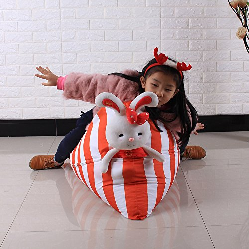 Auwer Kids Stuffed Animal Storage Bean Bag Chair, Plush Toy Storage Bean Bag Soft Pouch Stripe Fabric Chair, Perfect Storage Solution For Extra Blankets / Pillows / Covers (Orange)