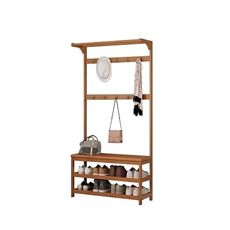 Amazon.com: Perchero de madera con 10 ganchos y zapatero de ...