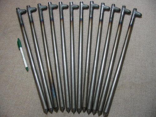 12 Pack of Heavy Duty Steel Tent Stakes, Anchors, Spikes or Pegs by Monk Industries
