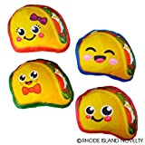 Taco Plush Pillow Toy with Cute Faces, Set of 4