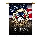 Angeleno Heritage - US Navy Americana - Everyday Military Impressions Decorative Vertical House Flag 28