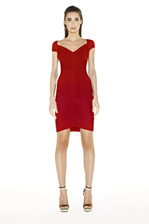 c69ccdd0277 Image Unavailable. Image not available for. Color  Herve Leger Kate Angled  Contour Bandage Cap Sleeve Dress Red