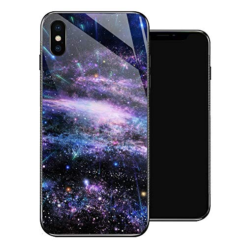 iPhone X Case,Purple Star Spatter iPhone Xs Cases for Girls/Boy/Men/Women,Tempered Glass Pattern Design Back Cover[Shock Absorption] Soft TPU Bumper Frame Support Case for iPhone X/XS