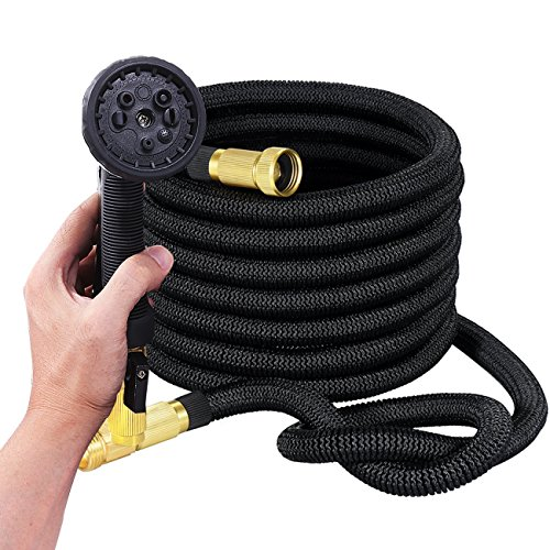 Expanding Hoses, 50ft Strongest Flexible Garden Expandable Hoses with Spray Nozzle and Double Latex (Retractable Nozzles)