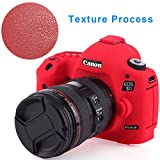 Canon 5D Mark III Protective Case Professional Silicion Rubber Camera Housing Case Cover Detachable Antiscratch shockproof Full body Protective case for Canon 5D Mark III(Red)