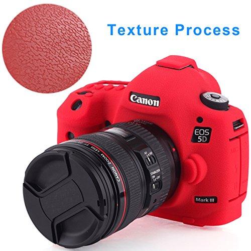 STSEETOP 5D Mark III Case,Protective Case Professional Silicion Rubber Camera Housing Case Cover Detachable Protective for Canon 5D Mark III 5D3 (Red)