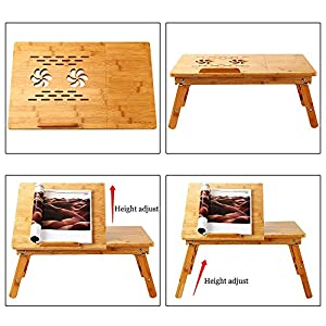 Laptop Desk Nnewvante Adjustable Laptop Desk Table Bamboo Foldable Breakfast Serving Bed Tray w' Drawer
