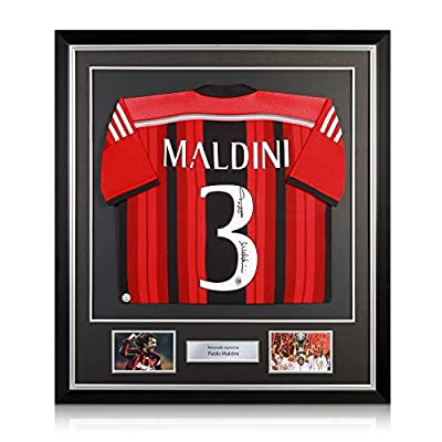 Paolo Maldini Signed AC Milan Soccer Jersey 2014-15. In Deluxe Frame
