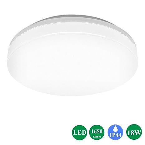 Öuesen Lámpara de techo LED 18W equivalente a 100W Plafón LED de 1650 lúmenes Color blanco cálido 3000K IP44 resistente al agua plafón, para cuarto de ...