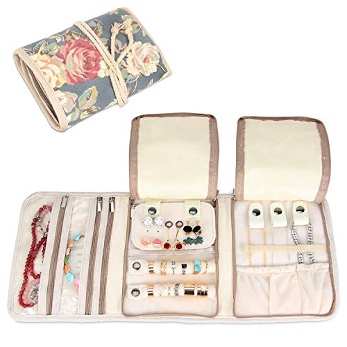 Teamoy Jewellery Roll, Travel Jewellery Organiser with Various Departments, Peony