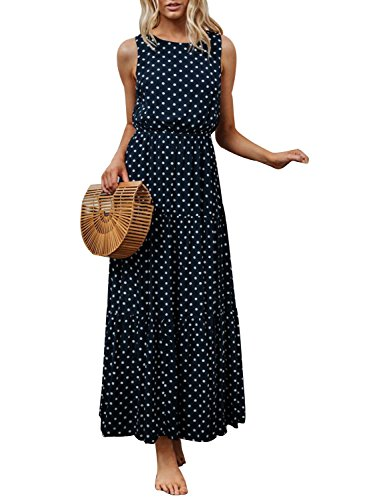 - Joeoy Women's Navy Polka Dot Print Summer Sleeveless Crew Neck Boho Long Maxi Dresses-L