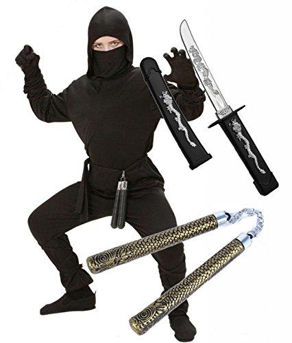 Boys Ninja Fancy Dress Costume with Sword & NunChuck Age 10-13