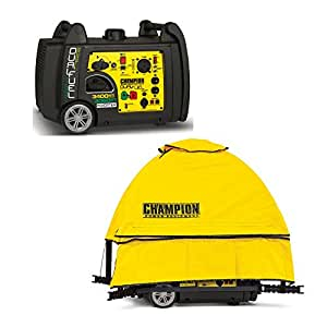 Champion 3400-Watt Dual Fuel RV Ready Portable Inverter Generator with Electric Start (with Storm Shield Severe Weather Cover)