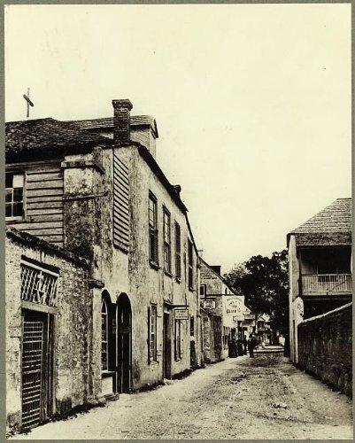 Photo: Saint George Street, buildings, roads, St Augustine, Johns County, Florida, FL, 1936 . - Shops St Fl Augustine