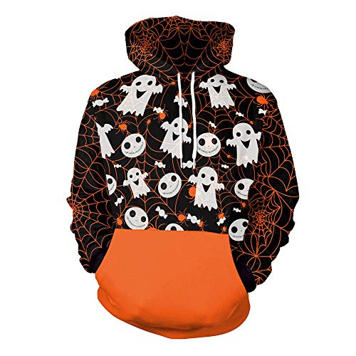 TWGONE Couples Shirts Scary Halloween Ghost 3D Print Long sleeves Party Womens Tops Caps Sweatshirt(US-14/CN-2XL,Orange)