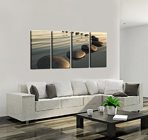 Live Art Decor - Large Zen Canvas Wall Art Basalt Stone at Sunset Relax Picture Spa Living Room Office Wall Decor Peaceful Scenery Artwork Framed Ready to Hang- 64''W x 32''H overall by Live Art Decor (Image #3)