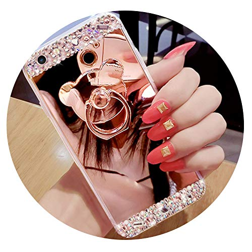 Mirror Rhinestone case for Huawei Honor 9 10 8X 7a pro P20 Mate 20 10 P9 lite Mini Y6 2017 Y5 Y7 Prime 2018 P Smart Phone Cover,Rose gold1,for Y7 Y7 Prime 2018 ()