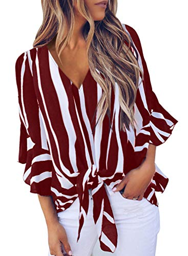 Asvivid Womens Summer Striped V Neck Bell Sleeve Loose Office Tshirt Tops Plus Size X-Large Red
