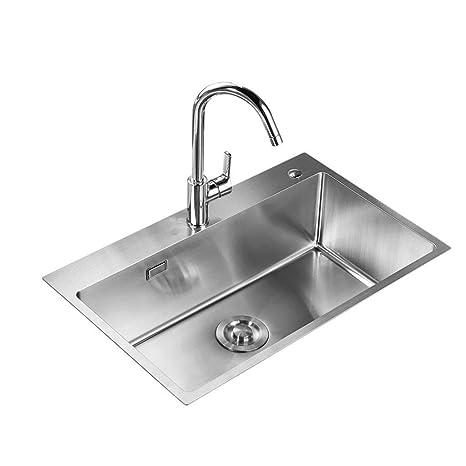 Fregadero de agua de acero inoxidable, recipiente individual ...