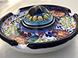 Talavera Ceramic Sombrero Ashtray 4 1/2'' Modern Art Design Authentic Puebla Mexico Pottery Hand Painted Design Vivid Colorful Art Decor Signed [Blue W/Lime Leaves]