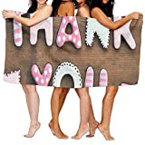 Haixia Microfiber Bath Towel Beach/Bath/Pool Towel 51.2'' X 31.5'' Thank You Decor Romantic Sweet Cookie Letters Sugar Candy On Rustic Wood Table Image Full Pink White Brown