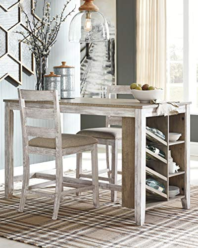Signature Design by Ashley Skempton Counter Height Dining Room Table, White/Light Brown