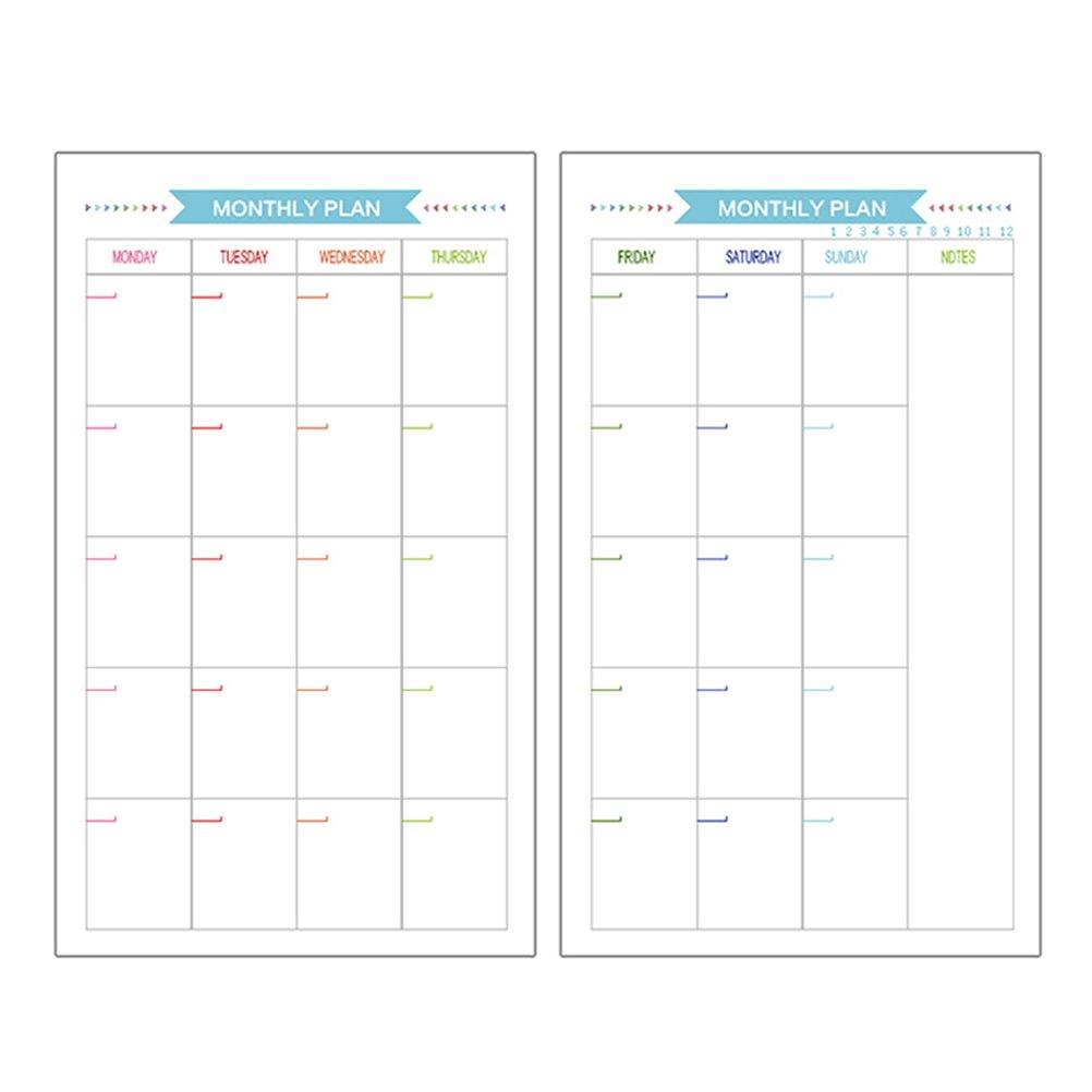 TOYMYTOY Fogli ricarica ricambio per blocchi ad anelli A6 per planner settimanale e mensile diario
