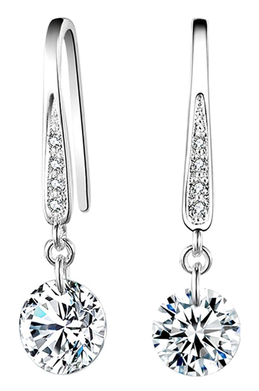 RoseSummer Jewelry Plated Crystal Hoop Dangle Earring Stud