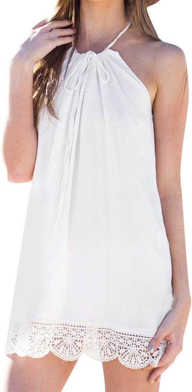 Overdose Mujer Vestido Blanco Vestido de Fiesta sin Mangas con ...