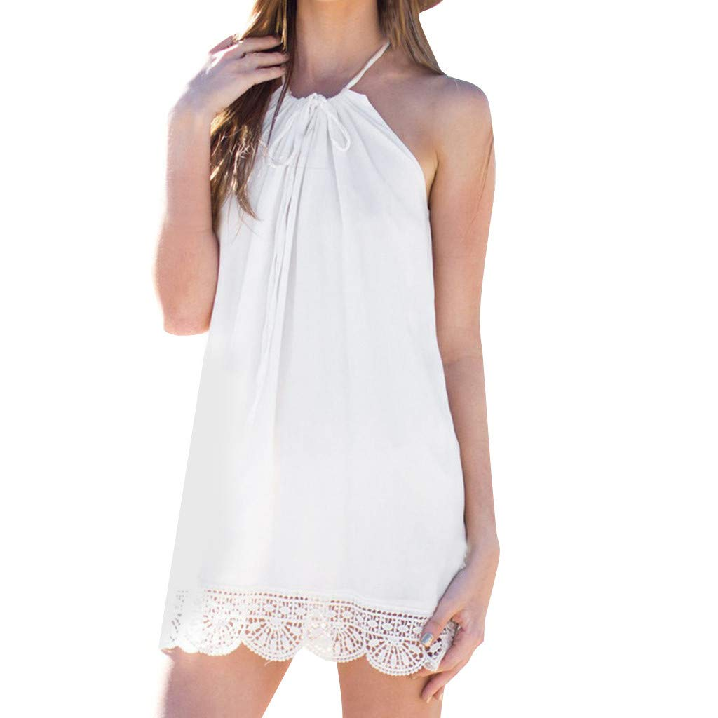 Womens Dresses Women's Halter Neck Boho Lace Sleeveless Casual Mini Beachwear Dress Sundress White