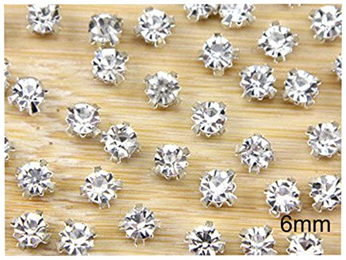 (YYCRAFT 200 Pcs Crystal Ringed Sew on Rhinestone Czech Glass with Silver Plated Brass Base Prongs Cup 6mm)