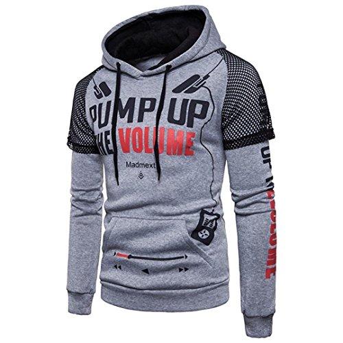 baskuwish Jacket Men's Long Sleeve Print Hoodie Letter Printed Sweater top Sweatshirt Outwear Blouse (2XL, Gray)