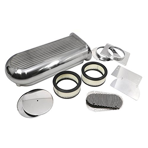 Air Scoop Kit - Assault Racing Products A8001-3 Polished Aluminum Hilborn Style Finned Hood Air Scoop Kit Single / Dual 4 BBL Carb