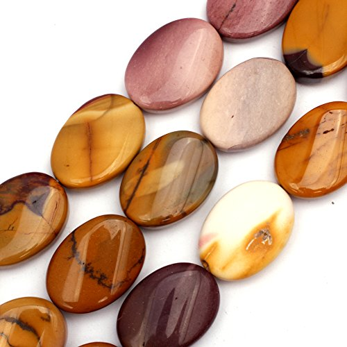 Jasper Multi Strand - 18x25mm Natural Semi Precious Oval Twist Mookaite Jasper Gemstone Beads for Jewelry Making Strand 15