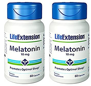 Life Extension Melatonin, 10 mg, Capsules, 60-Count Pack of 2