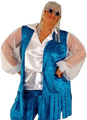 CL COSTUMES Disco Fever-Flower Power-1960's-1970's-Hippie-Fancy Dress Ladies Blue Hippy Waistcoat - All Ladies Sizes (UK (Ladies Hippy Fancy Dress)