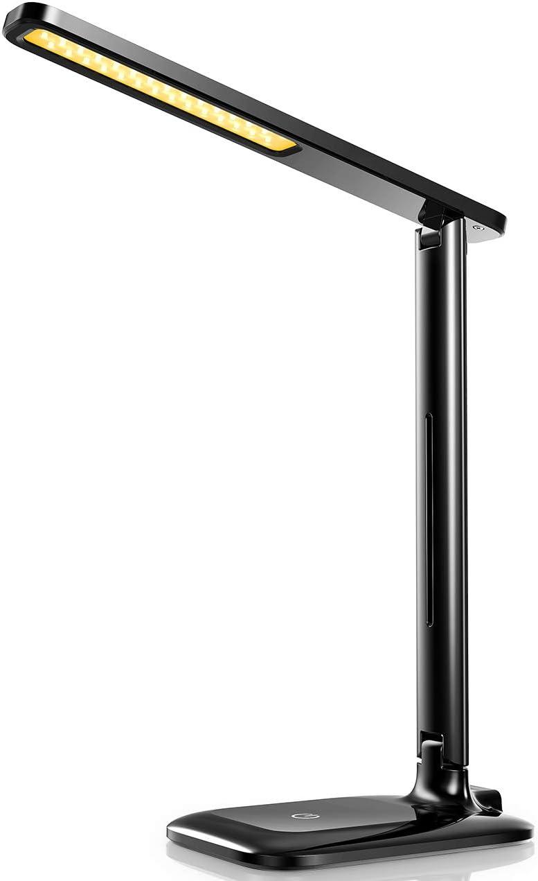 ONKRON Lampara LED Escritorio Plegable USB Lampara de Mesa Port/átil Recargable D4A Gris