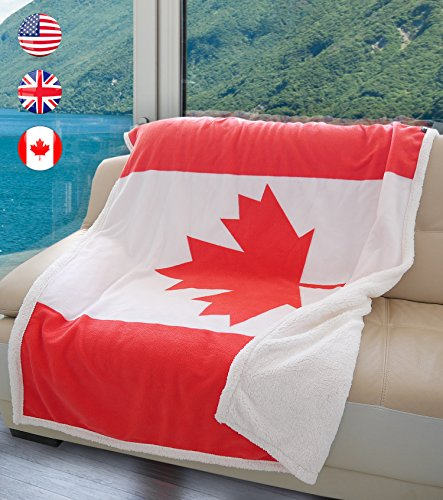 Terrania Canadian Flag Sherpa Throw Blanket, Super Cozy Fleece Plush Bed Throw TV Blankets Reversible for Bed or Couch 50 x 60 | Catalonia Series Canadian Flag