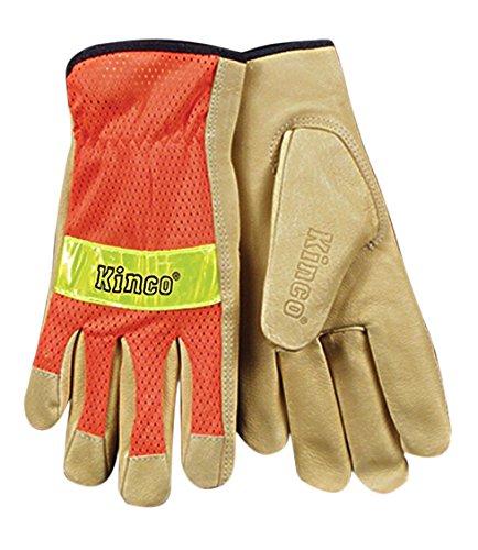 - KINCO 909-XL Men's Unlined Grain Pigskin Mesh Back Gloves, Safety, X-Large, Orange
