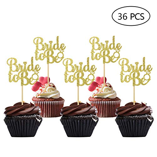 (36 PCS Gold Glitter Bride to be Cake Cupcake Toppers Picks for Wedding Bachelorette Bridal Shower Party Decorations)