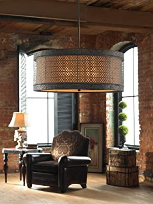 Rustic French Metal Filagree 3 Light Hanging Shade Pendant Chandelier