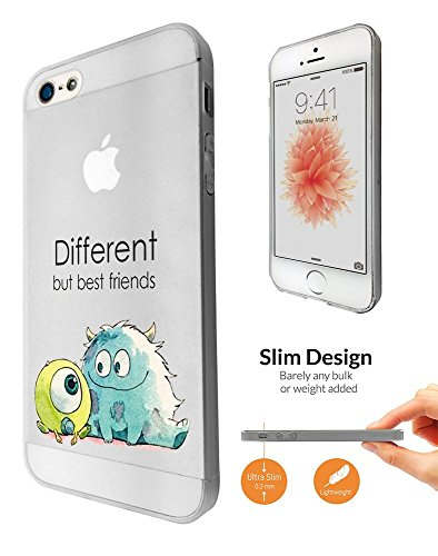C0038 - Cool Fun Monsters Different But Best Friends Design iphone SE 2016 / iphone 5 5S Fashion Trend Leichtgewicht Hülle Ultra Slim 0.3MM Kunststoff Kanten und Rückseite Protection Hülle - Clear