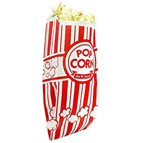 Popcorn Bags Coated for Leak/Tear Resistance. Single Serving 1oz Paper Sleeves in Nostalgic Red/White Design. Great Movie Theme Party Supplies or for Old Fashioned Carnivals & Fundraisers!