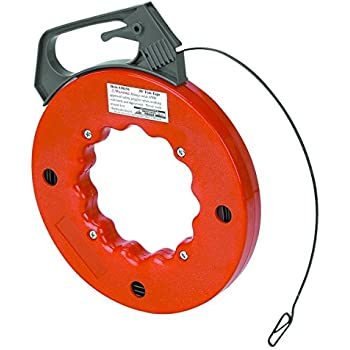 """Electrical Fish Tape Reel - 25 Feet - Impact Case for Electricians, Pull Communication Wire Cable Line From Drywall, Ceiling, Under Rug Conduit or Pipe- 1/2"""" W x 1/16"""" Thick Tape Reel - By Katzco"""
