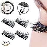 False Magnetic Eyelashes, Newest 3D Mini Fake Magnetic Lashes, No Glue Need, Reusable Ultra-thick 0.2mm Best Fake Eyelash Extensions, 1 Pair ( 4 pieces)