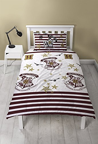 Harry Potter Duvet Cover with Matching Pillow Case - Two Sided Hogwarts Muggles Bedding Design, Microfibre, White, Single (Duvet Cover Harry Potter)