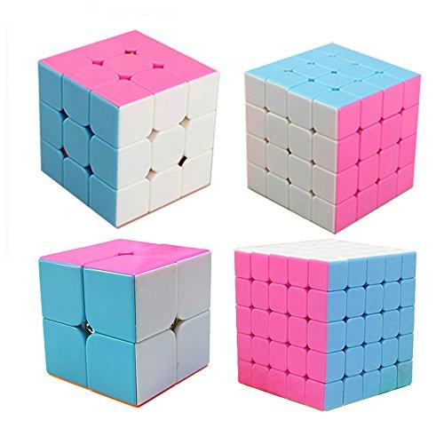 MZStech Cube Magique Set 4 Pack 2x2x2 3x3x3 4x4x4 5x5x5 Autocollant Speed Cube Rose